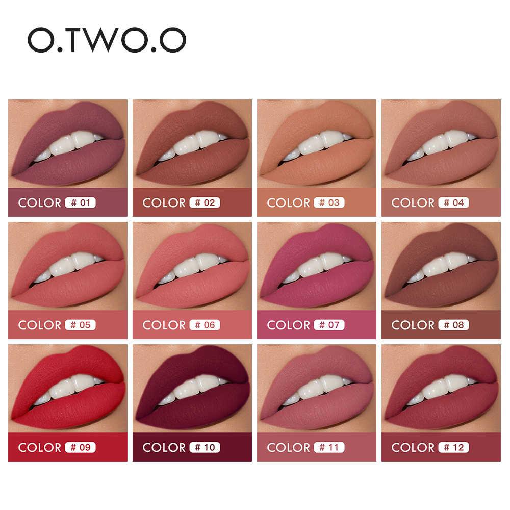O.TWO.O 12 יח'\חבילה 2 ב 1 מט שפתון איפור עמיד למים לאורך זמן גלוס נוזלי שפתון 12 צבעים עירום שפתיים שפתונים