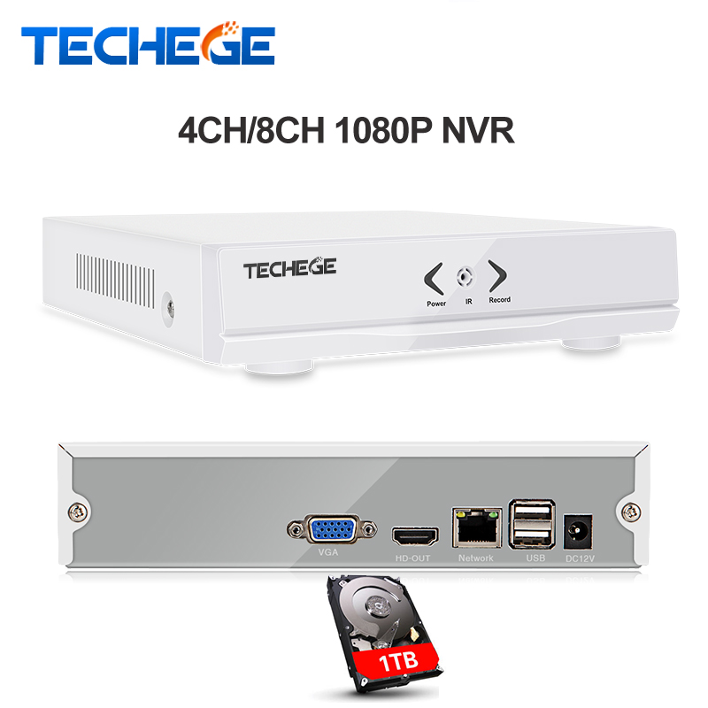 Techege NEW MINI NVR 4CH 8CH Full HD NVR 1920*1080P P2P ONVIF 2.0 For IP Camera HDMI Network Video Recorder dahua mini smart nvr 1u 1hdd 4ch 8ch 1080p onvif nvr ip camera system network video recorder nvr2104 2108 p2p cloud hdm