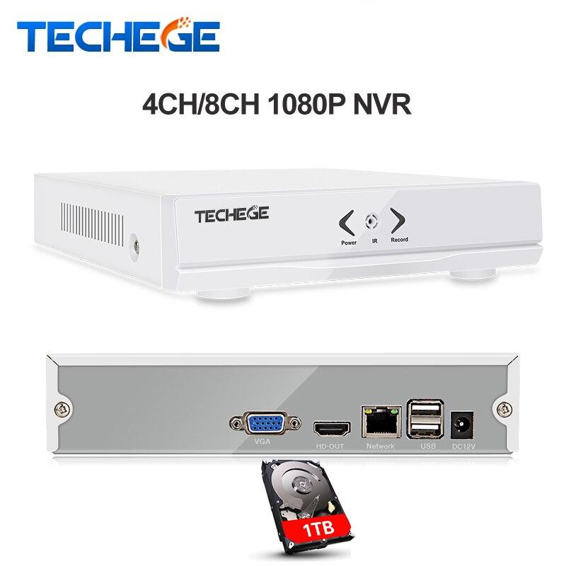 Techege NEW MINI NVR 4CH 8CH Full HD NVR 1920*1080P P2P ONVIF 2.0 For IP Camera HDMI Network Video Recorder