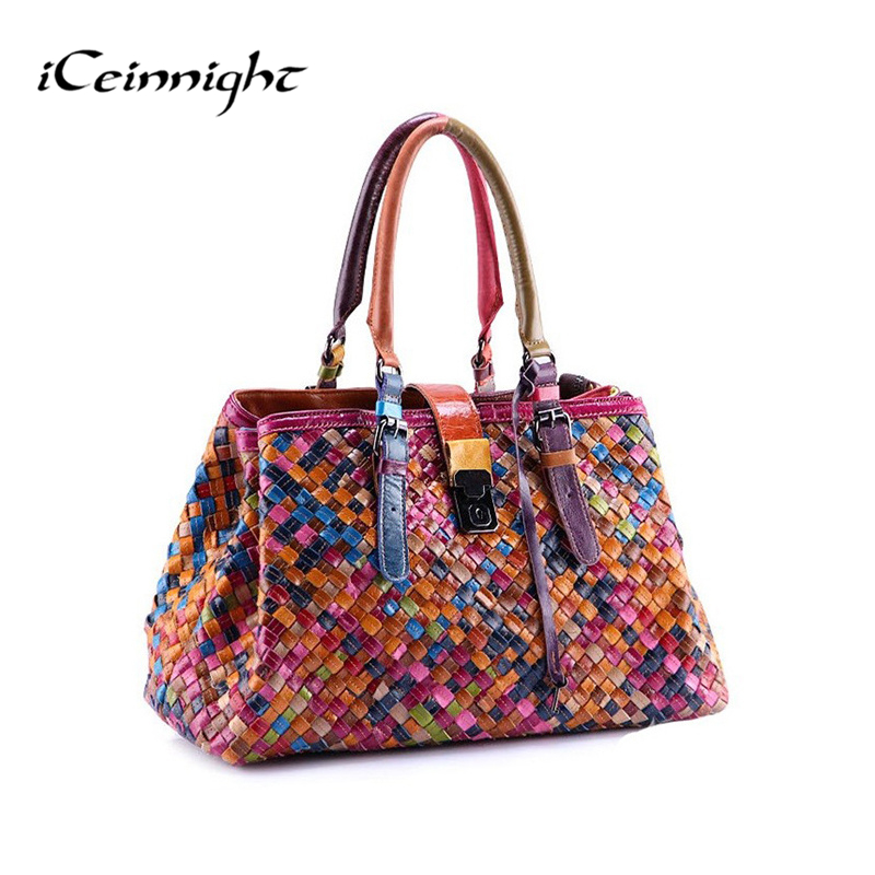 2016 New Fashion Multicolour Genuine Leather Bags Weave Handbags Women s Shoulder Bag Messenger Bag colorful