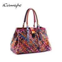 2017 Yeni Moda Çok Renkli Hakiki Deri Çanta Dokuma Çanta kadın Omuz Çantası Messenger çanta renkli çanta kadın