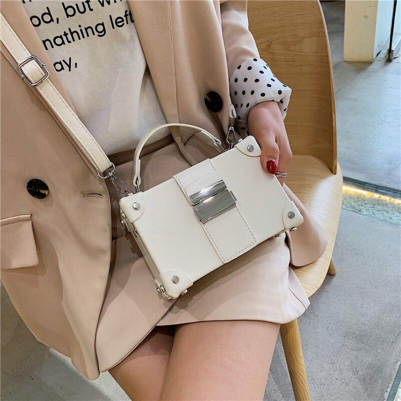 Burminsa Summer Small Box Crossbody Bags For Girls Unusual Lock Women Handbags Ladies Shoulder Messenger Bags 2019 Green White