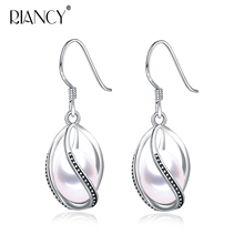 Fashion trendy Cage pendant earrings for Women Natural 925 Sterling Silver Charming Freshwater Pearl earrings jewelry 925 sterling silver hooks 100% natural rainbow obsidian stone pendant vintage dangle fashion earrings for women 1 pair ls908