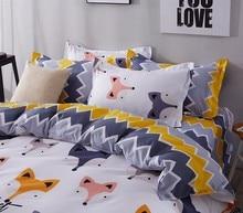 JU Home Textile Cartoon Fox 3/4pcs Bedding Sets Children's Beddingset Bed Linen Duvet Cover Bed Sheet Pillowcase/bed Set