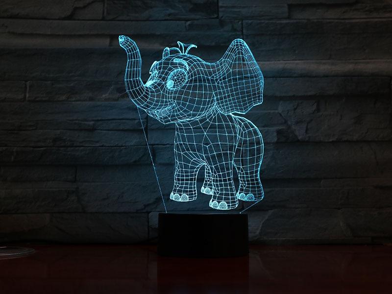 Animal Elephant Led Night Light Touch Sensor 7 Color Changing Decorative Lamp Child Kids Baby Kit Nightlight 3D