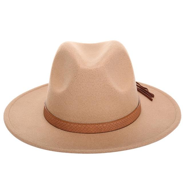 2017 New woolen fedora hats for women men wide brim hat brown pu leather belt decoration vintage caps europe solid jazz cap