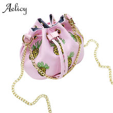 Aelicy Small Designer Chain Women Leather Handbag Messenger Bags Pineapple Printing Shoulder Crossbody Bag women shoulder bag(China)