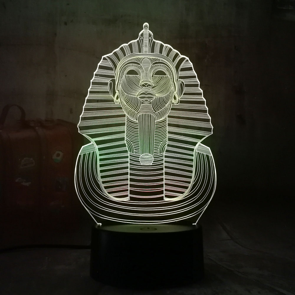 2018 New Egypt Sphinx Pharaoh Bulb 3D RGB LED Night Light Multicolor Creative 7 Color Change USB Desk Lamp Kids Gift Home Decor magnetic floating levitation 3d print moon lamp led night light 2 color auto change moon light home decor creative birthday gift