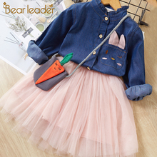 Bear Leader Girls Dress Casual Style Christmas Dress Long Sleeve Denim Cartoon Embroidery Shirt+Mesh Dress 2pc for Girls Clothes bear leader girls dress 2018 new spring brand girls clothes england style printing bow design baby yellow girls dress for 3 7y
