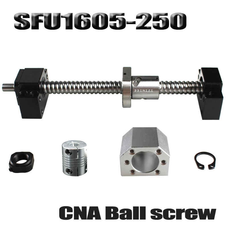 Ballscrew 250mm SFU1605 rolled ball screw C7 with end machined +1605 ball nut + nut housing+BK/BF12 end support + coupler RM1605