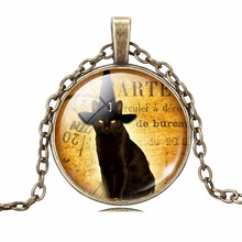 LIEBE ENGEL Unique Necklace Glass Cabochon Silver Bronze Chain Necklace Black Cat Picture Vintage Pendant Necklace For Women