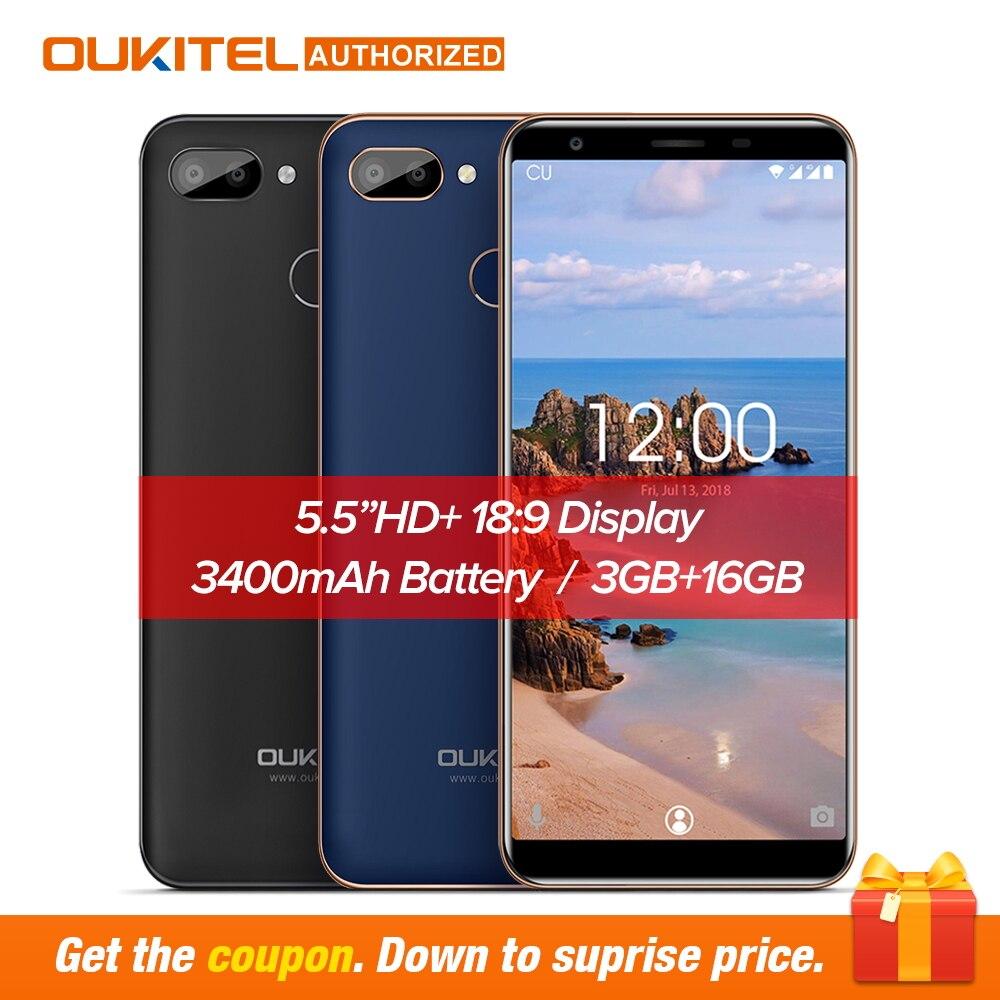 Оригинальный OUKITEL C11 Pro 5,5 дюймов 18:9 Android 8,1 мобильный телефон 4 ядра 3 ГБ Оперативная память 16 ГБ ПЗУ 4 Гб сотовых телефонов 3400 мАч смартфон