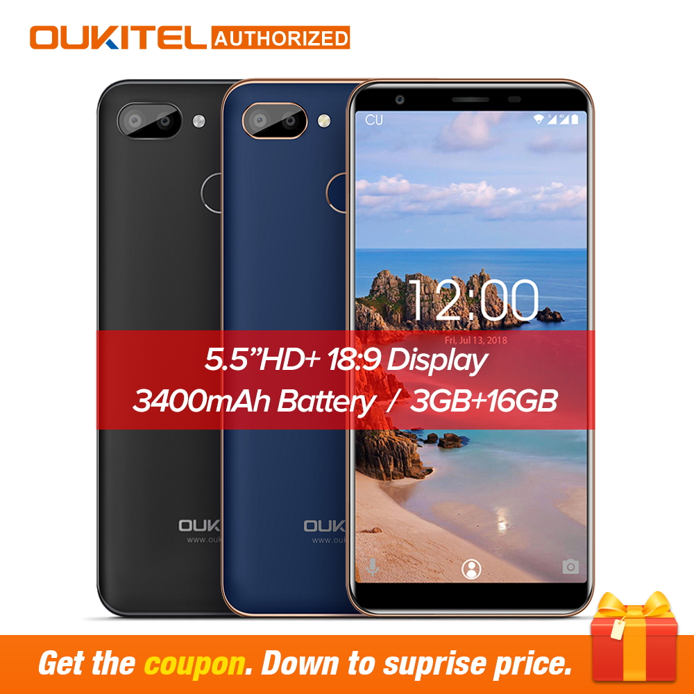 Original OUKITEL C11 Pro 5,5 zoll 18:9 Android 8.1 Handy Quad Core 3 gb RAM 16 gb ROM 4g handys 3400 mah Smartphone