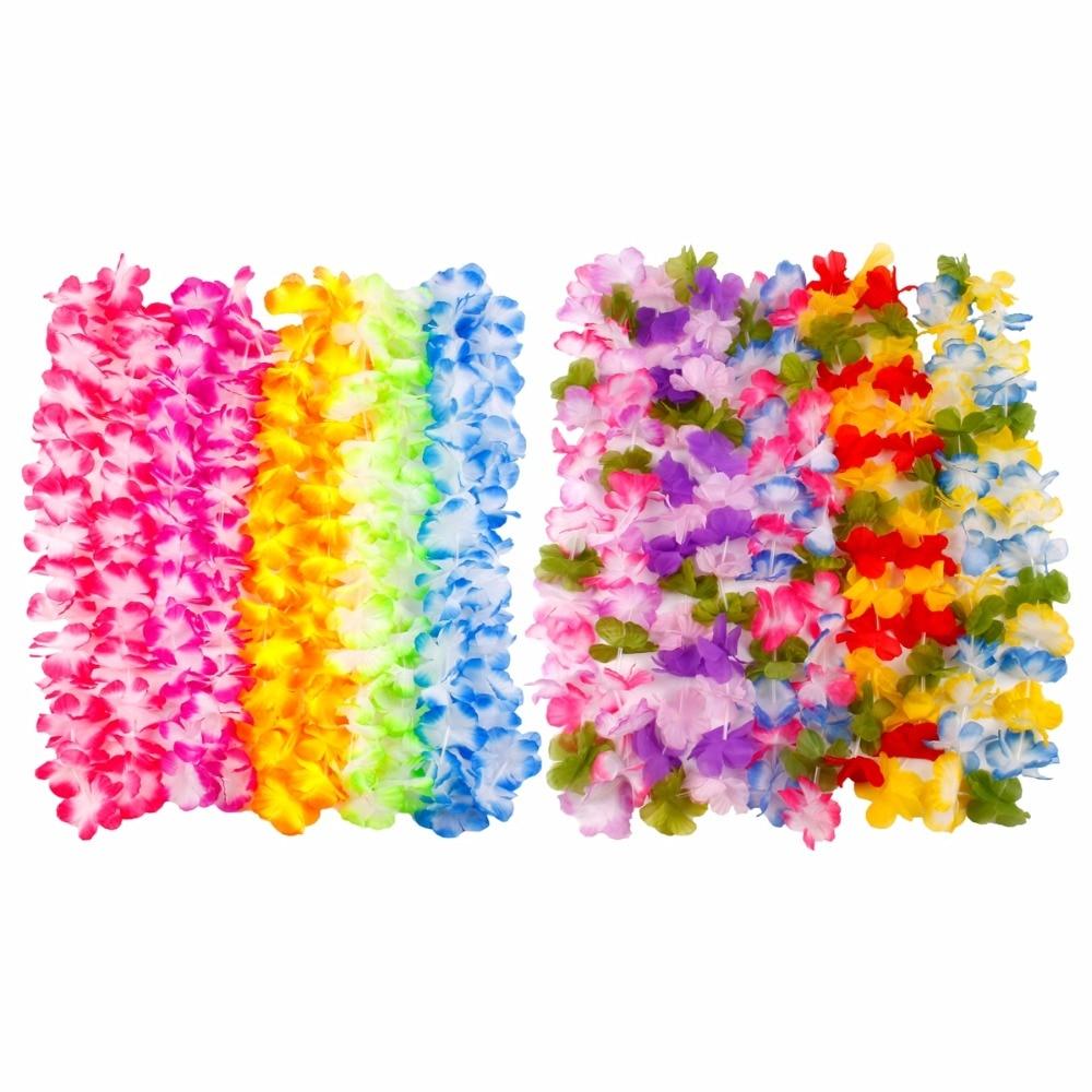 HUIRAN Artificial Flower Garland Hawaiian Flower Necklace Hawaiian Party Decorations Hawaii Party Favors Summer Party Supplies
