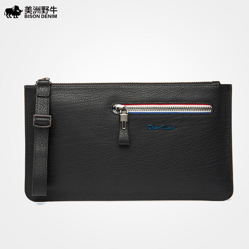 2018 BISON DENIM Men Genuine Leather Casual Large Capacity Clutch Bag Handbags High Quality Men's Envelope Bag Cowhide Wallet the fall of 2015 to launch new products design high quality loose big yards the cowboy cotton women s nine minutes of pants