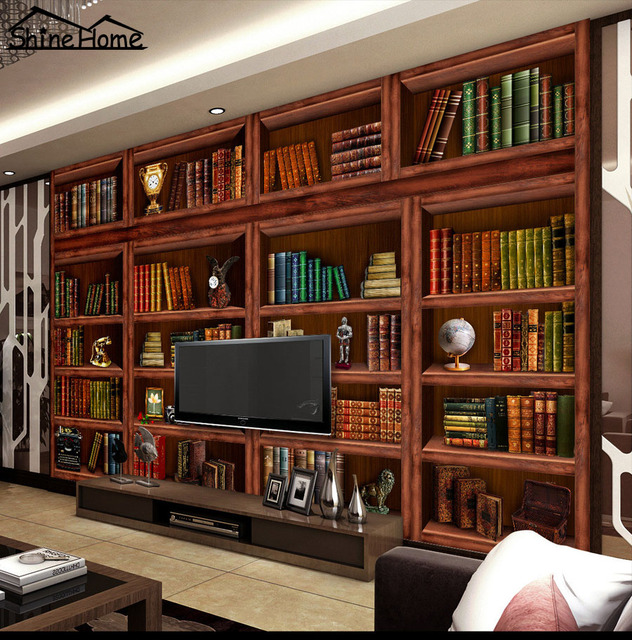 3 Designs Bookcase Shelf Photo Wallpaper For Walls Floring Mural Rolls Livingroom Household Decor