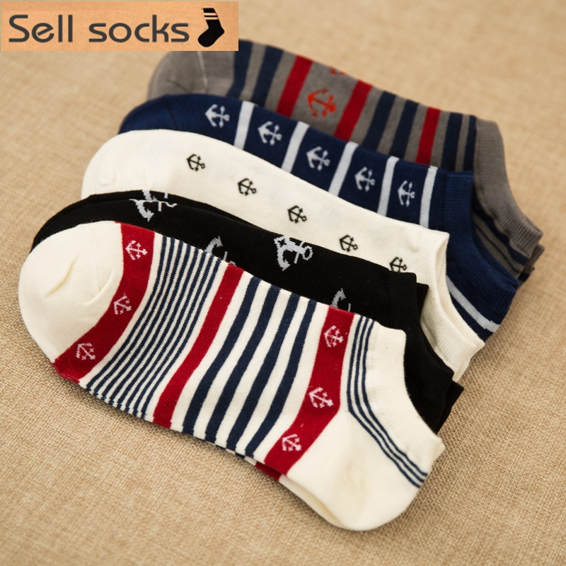 new summer Stripes Sailor anchor man Casual ankle cotton   socks   men boat   sock   slippers harajuku EUR39-44
