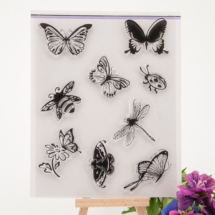 Scrapbook DIY photo cards rubber stamp clear stamp transparent stamp Purple abstract butterfly Animal insect Pattern 14x18cm scrapbook diy photo cards account rubber stamp clear stamp finished transparent chapter wall decoration 15 18