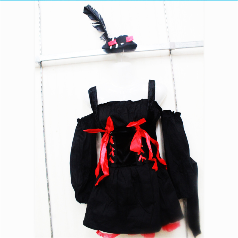 high quality Sexy black Women Pirate Costume Pirates of the Caribbean Cosplay Fancy Dress Carnival Halloween Adult Party Costume