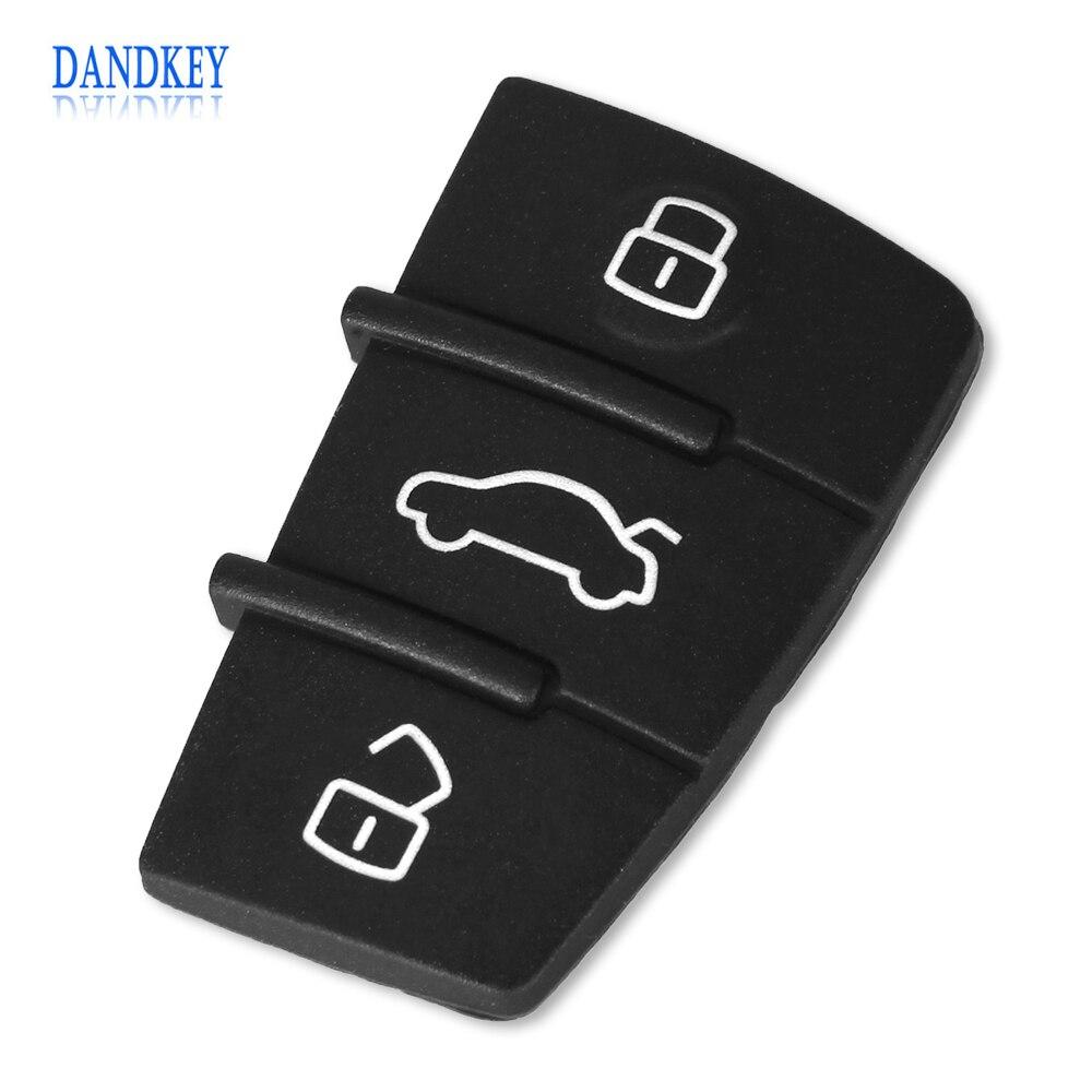 Dandkey 2pcs/lot 3 Button Replacement Pad Rubber Remote Key Fob For Audi A3 A4 A5 A6 A8 Q5 Q7 TT S LINE RS
