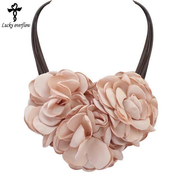 Hot Simple Choker Necklace Big Flower Necklace & Pendants Leather Chain Statemen