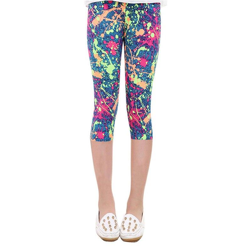 ①  PaMaBa 3/4 длины летние леггинсы для девочек с цветочным принтом шелковистые спортивные йога гимнаст ✔
