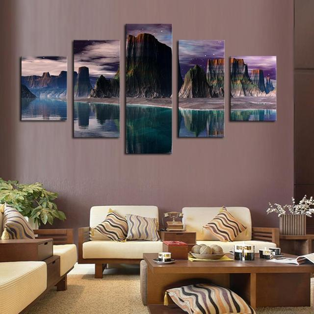 5 Panels HD Beautiful Mountains And Green Lakes Canvas Print Painting For Living Room Wall Art