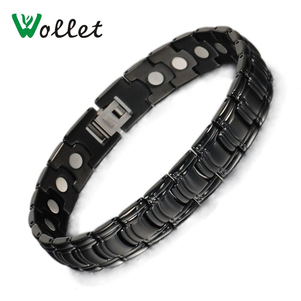 Wollet šperky čisté titanový magnetický náramek náramek pro muže ženy černá barva módní zdravotní péče léčení energie bio magnet