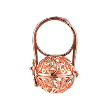 Rose Golden Sliver Color Hollow Out Flower Locket Pearl Cage Rings For Making DIY Fashion Essential Oil Diffuser Rings Jewelry(China)