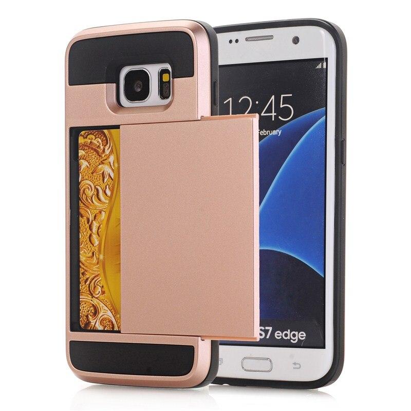 Zbroja slajdów credit card case do samsung galaxy s3 s4 s5 S6 S7 krawędzi Slot Portfel Shock Proof Skóry Twardego Plastiku + TPU Pokrywy Shell 1