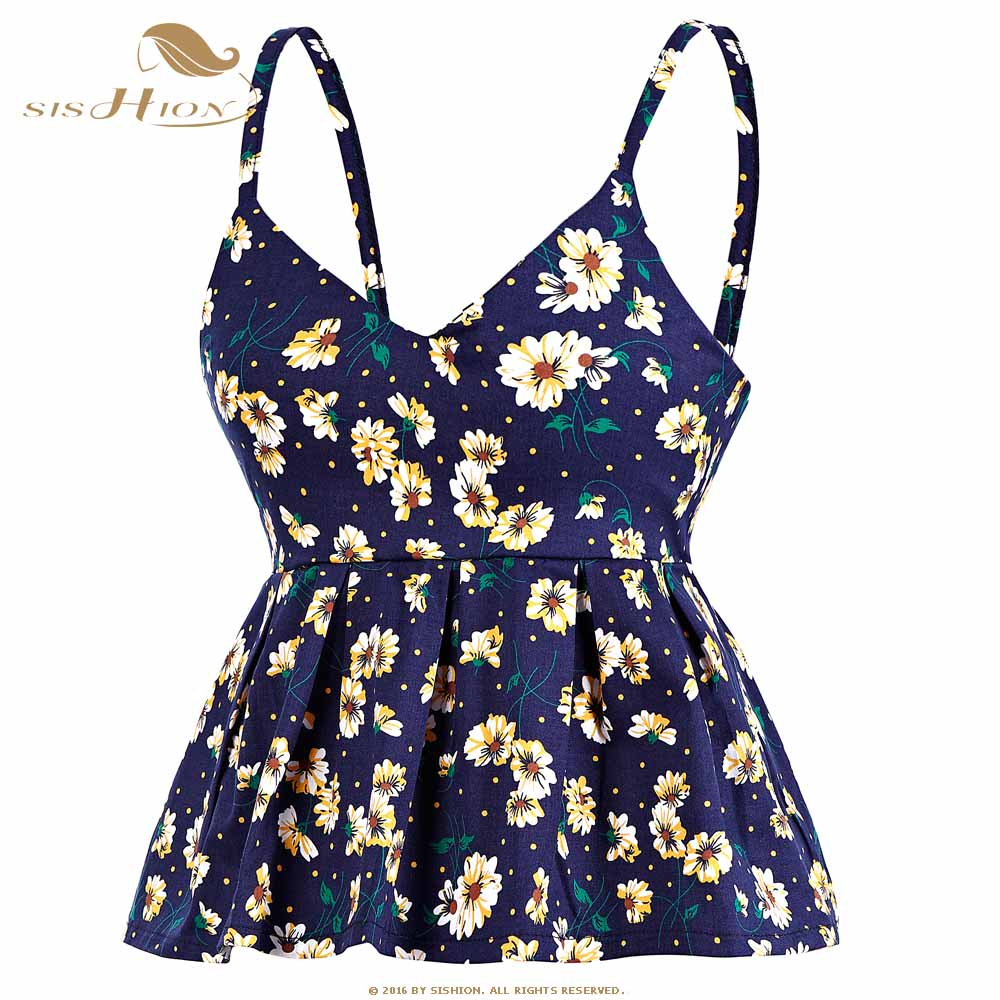 SISHION 2017 Bustier Crop   Top   Women Sexy Slim Short Floral Print Vintage Cropped   Tops   Pleated Camisole   Tank     Top   VT003