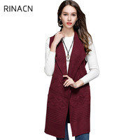 2018 autumn and winter Europe style fashion long section lapel knitted cardigan sleeveless vest sweater coat w394
