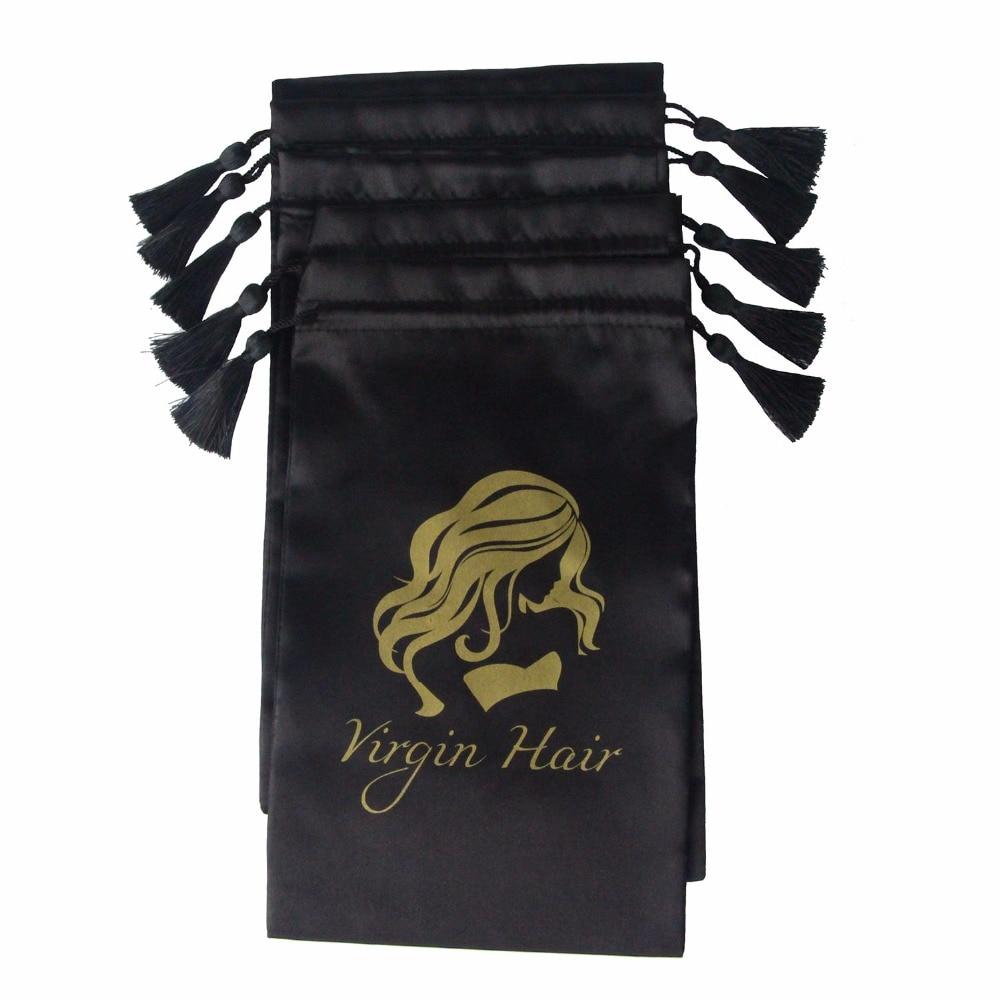 Купить с кэшбэком 10pcs Black Virgin Hair Packaging Bag with Drawstring, Hair Extension Bundles Satin Bag with Tassel