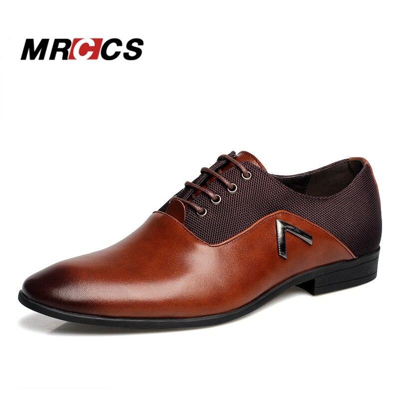 Pointed Shoes Large Size 11 Business Men's Basic Casual Shoes,Black/Brown Leather Cloth Elegant Design Handsome Flat MRCCS