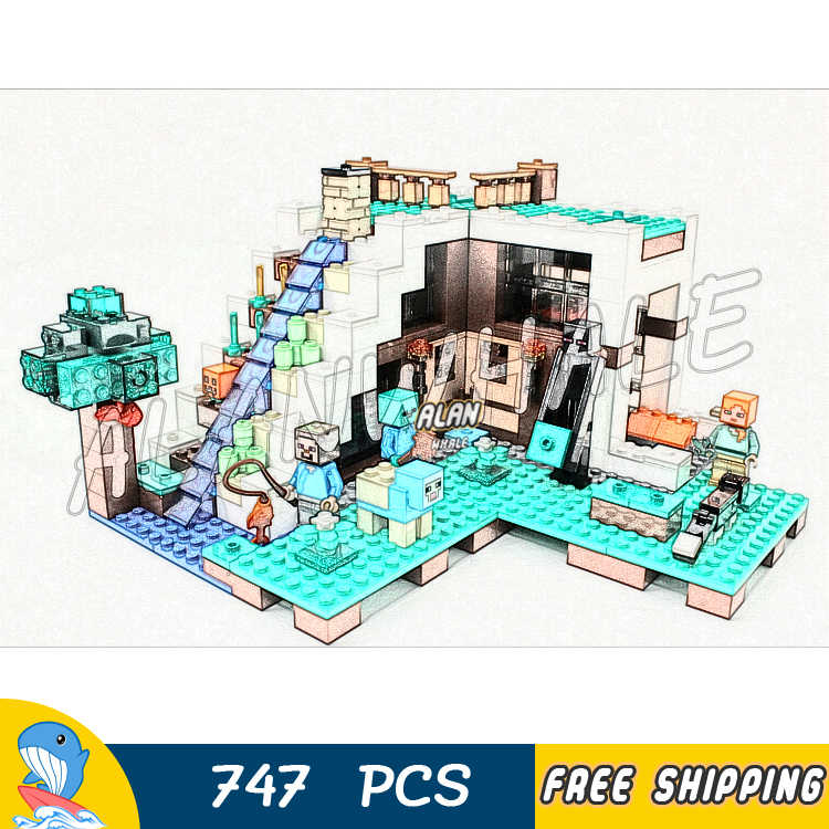 747 قطعة بلدي العالم شلال قاعدة الحمم سقف حديقة 10624 نموذج بناء كتل الاطفال الطوب متوافق مع اغو Minecrafted