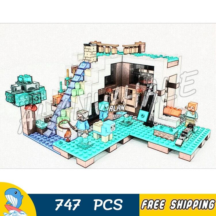 747 pièces mon monde la cascade Base lave toit jardin 10624 modèle blocs de construction enfants briques compatibles avec Lego Minecrafted