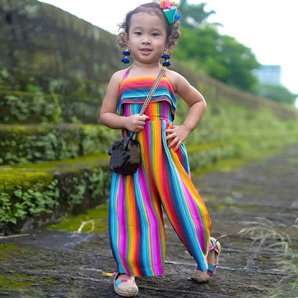 963b20834b989 Toddler Baby Kids girl toddler clothes Summer Rainbow Backless Romper  Jumpsuits Clothes Sunsuit vetement enfant fille