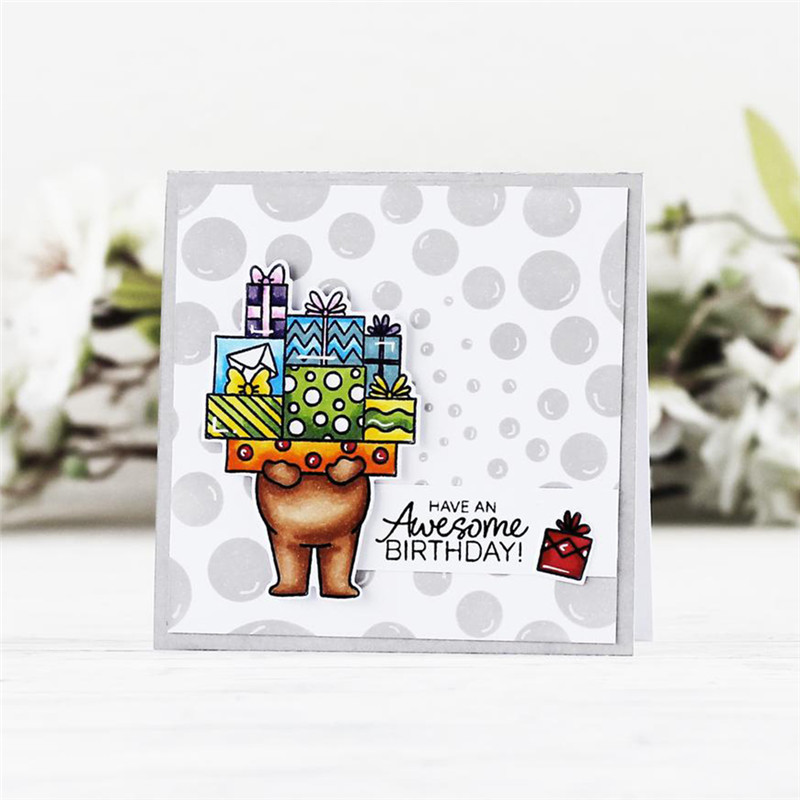 Naifumodo Happy Birthday Gift Metal Cutting Dies Clear Rubber Silicone Stamps Card New 2019 DIY for Scrapbooking Craft Template