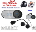New 2016! 1pc Original Motorcycle Helmet bluetooth Headset intercome Interphone Headset with LCD Screen + FM Radio