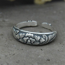 New Design Personality Lotus Open Adjustable Ring Male And Female Couple 100% 925 Sterling Silver Jewelry