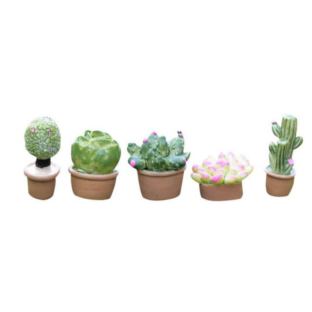 5Pcs Mini Artificial Fleshy Cactus Plant Real Touch Palm Bonsai Landscape Decorative Flower Talbe Decoration Resin Miniature 2