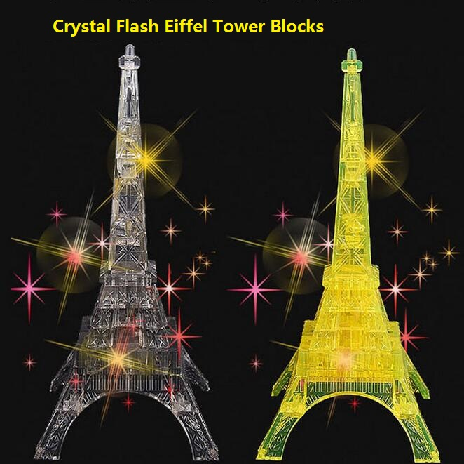 2ColorsThe Flashing Eiffel Tower Of Paris Large Crystal Block 22pcs Teaching Building Bricks Sets Model DIY Toys Children Gifts