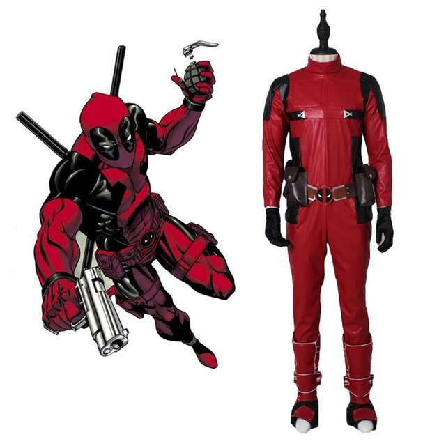 High quality adult Deadpool Wilson cosplay costume leather full ...