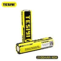 2pcs/set TESIYI ICR 18650 battery 3.7V 2100mah 40A yellow black rechargeable li lon Vape Electronic cigarette power batteries