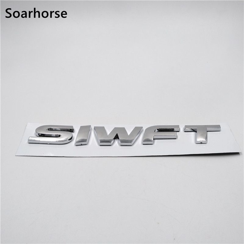 Soarhorse New For Suzuki Swift 3D Letters Logo Sticker Car Rear Trunk Lid Silver Emblem Badge soarhorse car rear trunk lid emblem badge nameplate decal for chevrolet cruze letters logo sticker