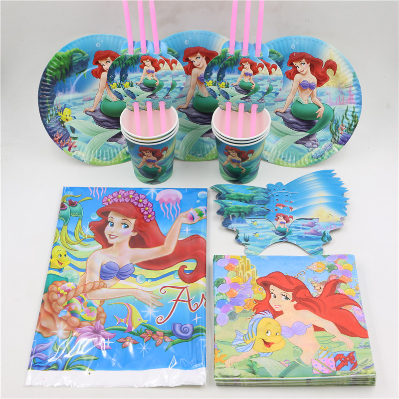 6 people cartoon beauty fish paper plate cup napkin banner 82pcs/lot kids girl happy birthday party decoration supplies favors on Aliexpress.com | Alibaba ...  sc 1 st  AliExpress.com & 6 people cartoon beauty fish paper plate cup napkin banner 82pcs/lot ...
