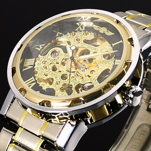 Image 2 - WINNER reloj mecánico de acero inoxidable con esqueleto para hombre, reloj de pulsera masculino, de cuerda a mano, transparente, Steampunk