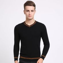 New men long sleeve v-neck knitted sweater to keep warm in winter