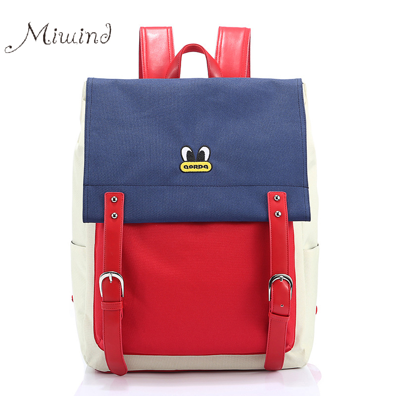 ФОТО 2016 preppy vintage designer patchwork belt canvas backpack cute embroidery school laptop bag travel rucksacks women men teens