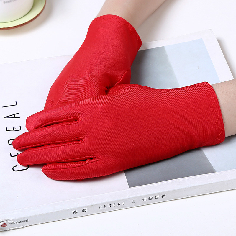 1Pair Spring Summer Spandex Gloves Women Black White Etiquette Thin Stretch Gloves Dance Tight White Jewelry Gloves